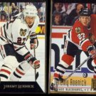 JEREMY ROENICK 1992 Pinnacle Team 2000 #27 of 30 + 1994 Ultra #44.  BLACK HAWKS