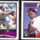 JOE CARTER 1989 Topps #420 + 1988 Topps #75.  INDIANS