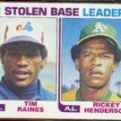 RICKEY HENDERSON 1982 Topps SB Leaders w/ Tim Raines