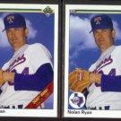 NOLAN RYAN (2) 1990 Upper Deck #734 (Stripe + No Stripe).  TEX RANGERS