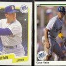 DAVE VALLE 1990 Fleer #527 + 1990 Upper Deck #451.  MARINERS