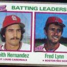 KEITH HERNANDEZ 1980 Topps Leaders #201 w/ Fred Lynn.  CARDS