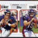 TIM TEBOW / JOHN ELWAY 2010 Topps Gridiron Lineage Insert #GL-ET.  BRONCOS