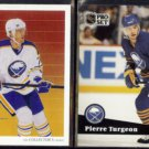 PIERRE TURGEON 1990 Upper Deck #318 + 1991 Pro Set #15.  SABRES