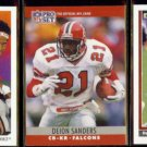 DEION SANDERS 1991 Upper Deck, 1990 Pro Set + 1991 UD.  FALCONS