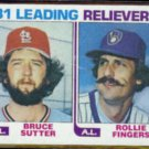 ROLLIE FINGERS 1982 Topps Leaders #168 w/ Sutter.  BREWERS