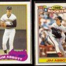 JIM ABBOTT 1989 Topps Draft #573 + 1990 Topps Glossy Rookies #1 of 33.  ANGELS