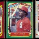 VINCE COLEMAN 1986, 1987 + 1988 Fleer Star Stickers.  CARDS