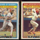 VINCE COLEMAN 1986 Kay Bee #5 of 33 + 1987 Kay Bee #11 of 33.  CARDS - Glossy