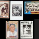 YOGI BERRA (5) Card Lot (Mixed Grade) w/ 1975, 80's + 2001.  YANKEES / METS