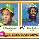 RICKEY HENDERSON 1981 Topps SB Leaders #4 w/ Ron LeFlore.  A's