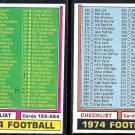 1974 Topps Football Checklist (133-264 + 265-396) - Unmarked - Nice shape