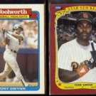 TONY GWYNN 1988 Topps Woolworth #12 of 33 + 1986 Fleer Star Sticker #50.  PADRES