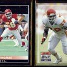 DERRICK THOMAS 1992 Pinnacle #30 + 1993 Power #58.  CHIEFS