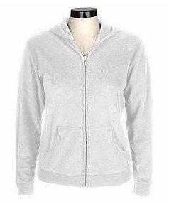 Denim & Co Terry Zip Front Hooded Sweatshirt    WHT  XL