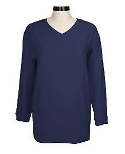 Denim & Co Reverse French Terry V-neck Tunic   NVY  L