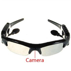 Rechargeable 8GB 1.3MP Pinhole Spy Camera Sunglass MP3 Player with Bluetooth