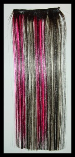 "BLACK PINK BLOND 12"" SCENE Clip On In Hair Extensions"