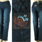 BQB - Ladies 5 Pocket Stretch Jeans with Rear Flower Patch-Single Pair-Size 7
