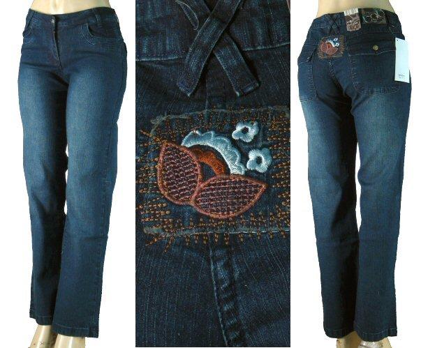 BQB - Ladies 5 Pocket Stretch Jeans with Rear Flower Patch-Single Pair-Size 15