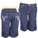 """Xpress Jeans""-Junior Stretch Navy Blue Denim Bermuda Shorts-Single Pair-Size 15"
