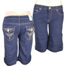 """Xpress Jeans""-Junior Stretch Navy Blue Denim Bermuda Shorts-Single Pair-Size 3"