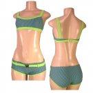 """Biki Active""-Junior Stretch Striped Bikini Set w/Butterfly Buckle Accent-Single Pair-Size Large"