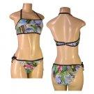 """Biki Active""-Junior Stretch Hawaiin Print Halter Top Bikini Set-Single Pair-Size Large"