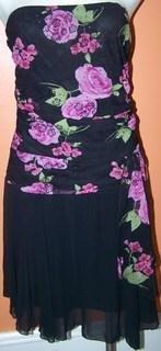 Hotkiss Ladies Dress Straples Pink Roses & Black FLowers Sequins