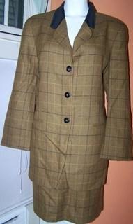 Jones New York Ladies 14 Skirt Suit Brown Plaid Formal