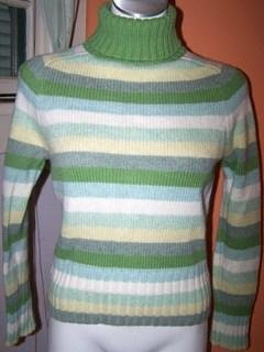 Gap Ladies Small Sweater Cashmere Green Stripes