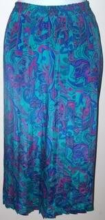 Alfred Dunner Ladies 14 Skirt Pleaded Aqua/Flowers