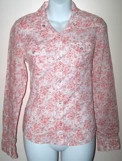 American Eagle Ladies M Blouse Orange Flowers Button Down Long Sleeves