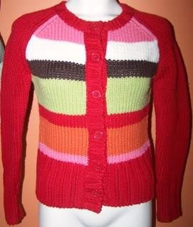 Takeout Ladies S Sweater Cardigan Red/Colors Stripes Casual