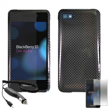 for blackberry z10 carbon fiber snap on phone case cover screen guard car charger. Black Bedroom Furniture Sets. Home Design Ideas