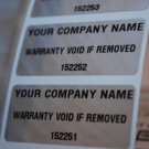 250 CUSTOM PRINTED TAMPERPROOF WARRANTY LABELS STICKERS