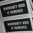 250 BLACK TAMPER EVIDENT WARRANTY VOID LABELS STICKERS