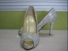 Custom crystal bridal Peep toe shoes  with red soles SALE!