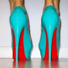 Turquoise Blue Leather stiletto pump, all sizes