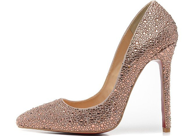 Champagne Crystal pointed toe pump