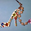 High Heel Shoe Purse Charm w/Czech Stones & Pearls