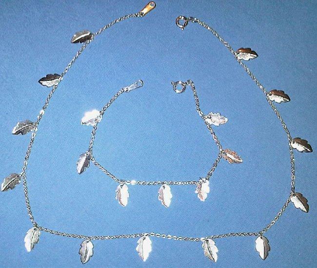 Fallen Leaf Silver Necklace & Bracelet Set