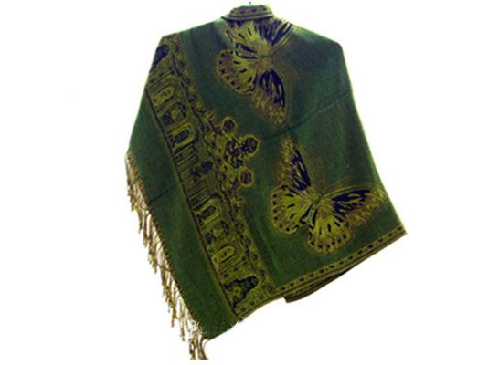 china yunnan ethnic clothing  jacquard shawl in pattern of butterfly