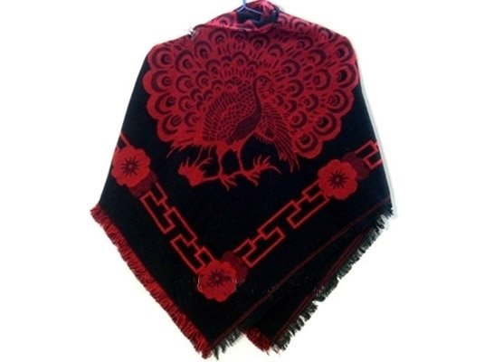 china  yunnan ethnic clothing shawl in  pattern of peacock