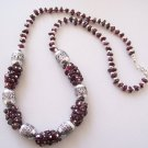 ethnic tibetan silver garnet necklace link of beads