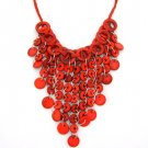 red necklace made of coconuts