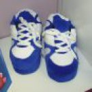 SLIPPERS HAPPY FEET BLUE AND WHITE TENNIS SHOES SUPER SOFT SIZE KIDS SMALL NEW HOUSE SLIPPERS