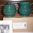 NO FREE SHIPPING-LONGABERGER POTTERY SUGAR & CREAMER~IVY~NIB~USA