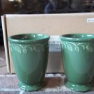 NO FREE SHIPPING-Longaberger Pottery At Home Green Garden Vase Set 2 NEW