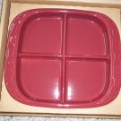 NO FREE SHIPPING-LONGABERGER POTTERY, PAPRIKA 4 SECTION RELISH DISH - NIB- MADE IN USA